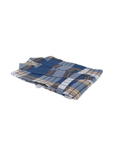 Bedinn N Standart Beden Şal Yaka Kol 54 Cm Göğüs 63 Cm Boy 109 Cm Pamuk Ipliği Yıkanabilir Klasik Peştemal Bornoz Mavi